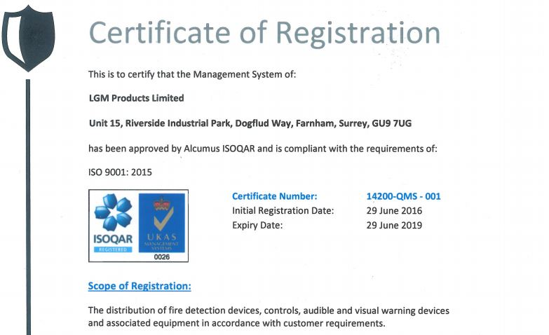ISO9001@2015 Certificate LGM Products